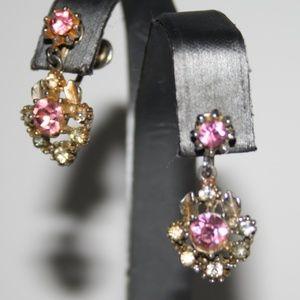 Vintage silver and pink rhinestone earrings
